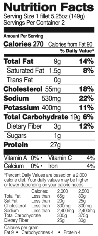 Gluten Free Breaded Chicken Breasts Nutrition Facts