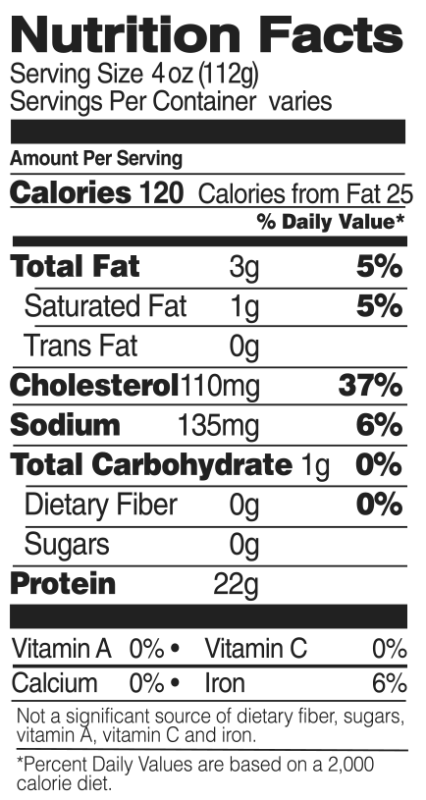 Individually Quick Frozen Organic Drumsticks Nutrition Facts