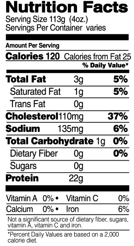 Drumsticks Nutrition Facts