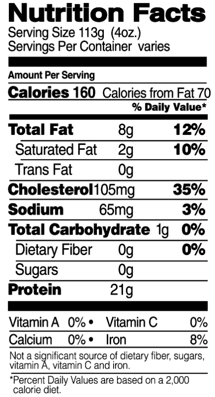 Boneless, Skinless Thighs Nutrition Facts