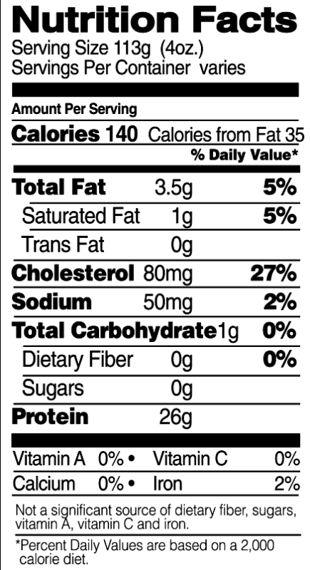 Split Breasts Nutrition Facts