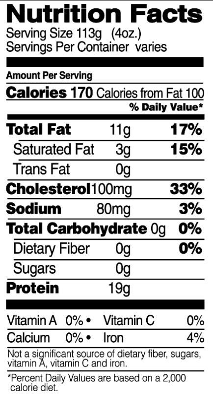 Whole Legs Nutrition Facts