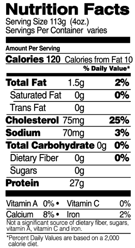 Boneless, Skinless Tenders Nutrition Facts