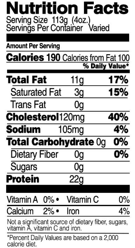 Cut Wings Nutrition Facts