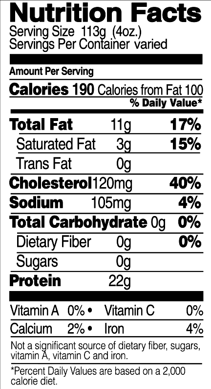 Organic Cut Wings Nutrition Facts