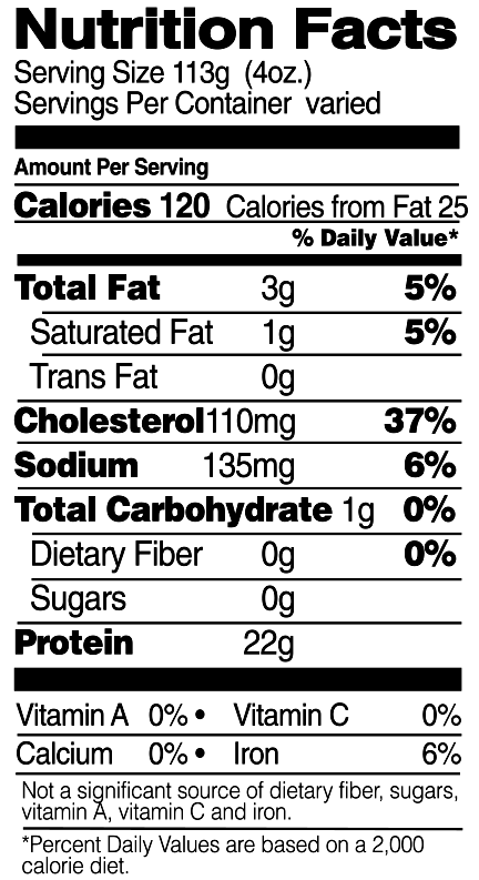 Organic Drumsticks Nutrition Facts