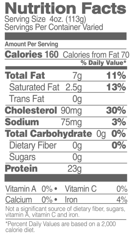Whole Organic Chicken Nutrition Facts