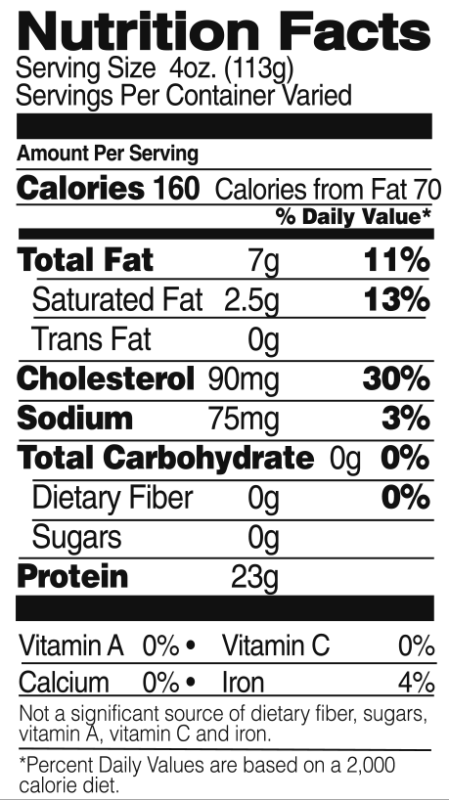 Whole Chicken Nutrition Facts
