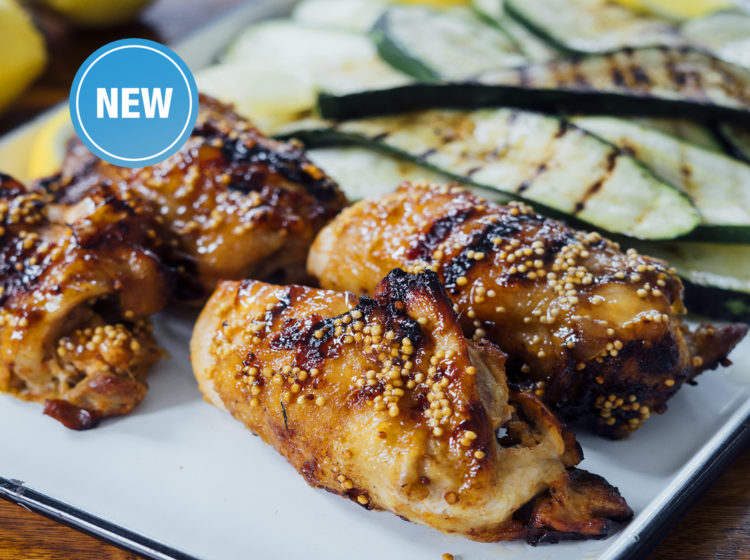 Grilled Lemon Ginger Boneless, Skin-on Chicken Legs