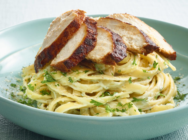 pan seared chicken cutlets with fettuccine alfredo