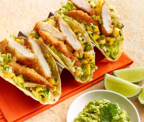 Coconut Chicken Tacos with Mango & Pineapple Salsa