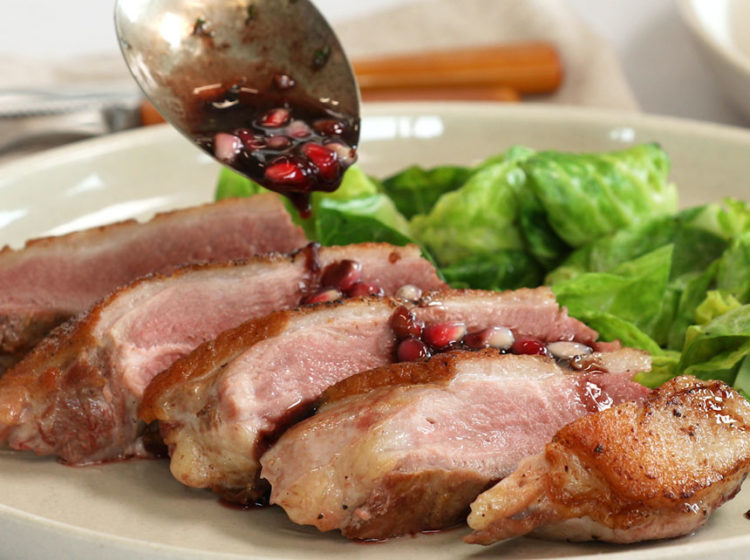 Seared Duck Breast with Pomegranate Reduction