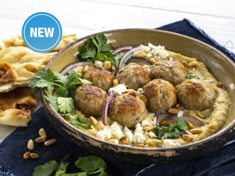 Chicken Meatball Hummus Bowl