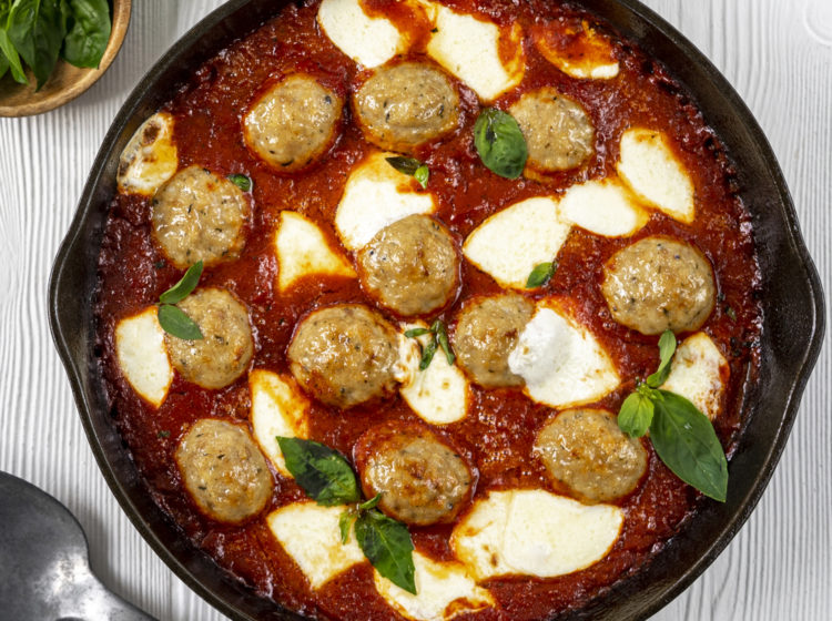 Skillet Meatballs with Marinara & Mozzarella