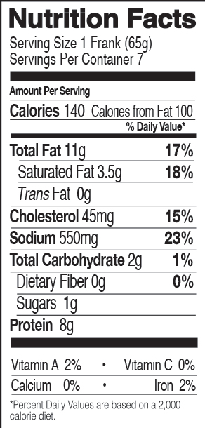 Uncured Organic Chicken Franks Nutrition Facts