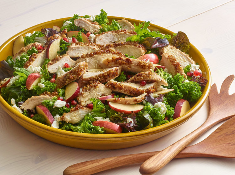 Winter Kale Salad with Pecan Crusted Chicken