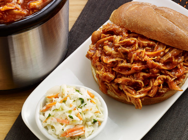 Slow Cooker Pulled Chicken BBQ with Homemade BBQ Sauce