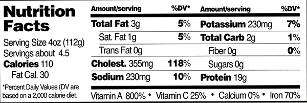RWA Livers Nutrition Facts