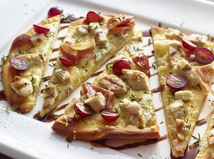 Chicken and Grape Crispy Flatbread Pizza